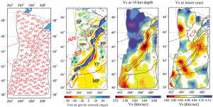 Shear wave speed estimates produced from a 122 TA stations provide a new understanding of the 1.1 billion year old North American Mid-Continent Rift. Comparison to surface gravity field measurements shows that the structure of the continent following the failed rift is significantly more complicated than previously believed. Figure Modified from Shen et al. (2013), doi:10.1002/jgrb.50321